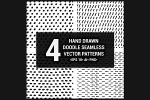 4 Hand drawn seamless patterns set 3