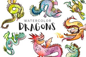 DRAGONS! Watercolor Clipart Set