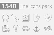 1540 vector line icons pack.