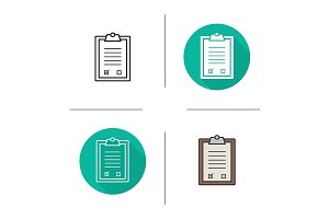 Tests checklist. 4 icons. Vector