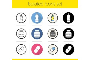 Sport supplies. 12 icons. Vector
