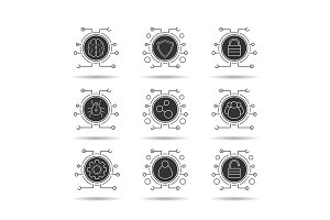 Cyber security. 9 icons. Vector