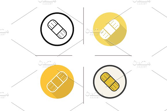 Plaster. 4 icons. Vector - Icons