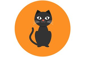 Black cat icon flat