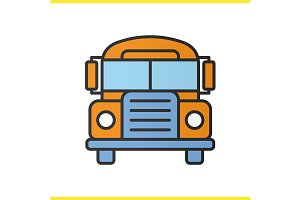 School bus color icon. Vector