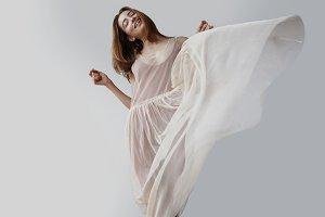 woman dance in light loft studio