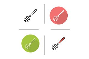 Egg beater. 4 icons. Vector