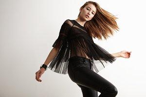 dancing rock style woman