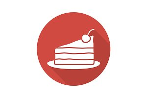 Piece of cake on plate icon. Vector