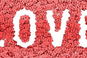 letters of love heart symbol 3D rendering