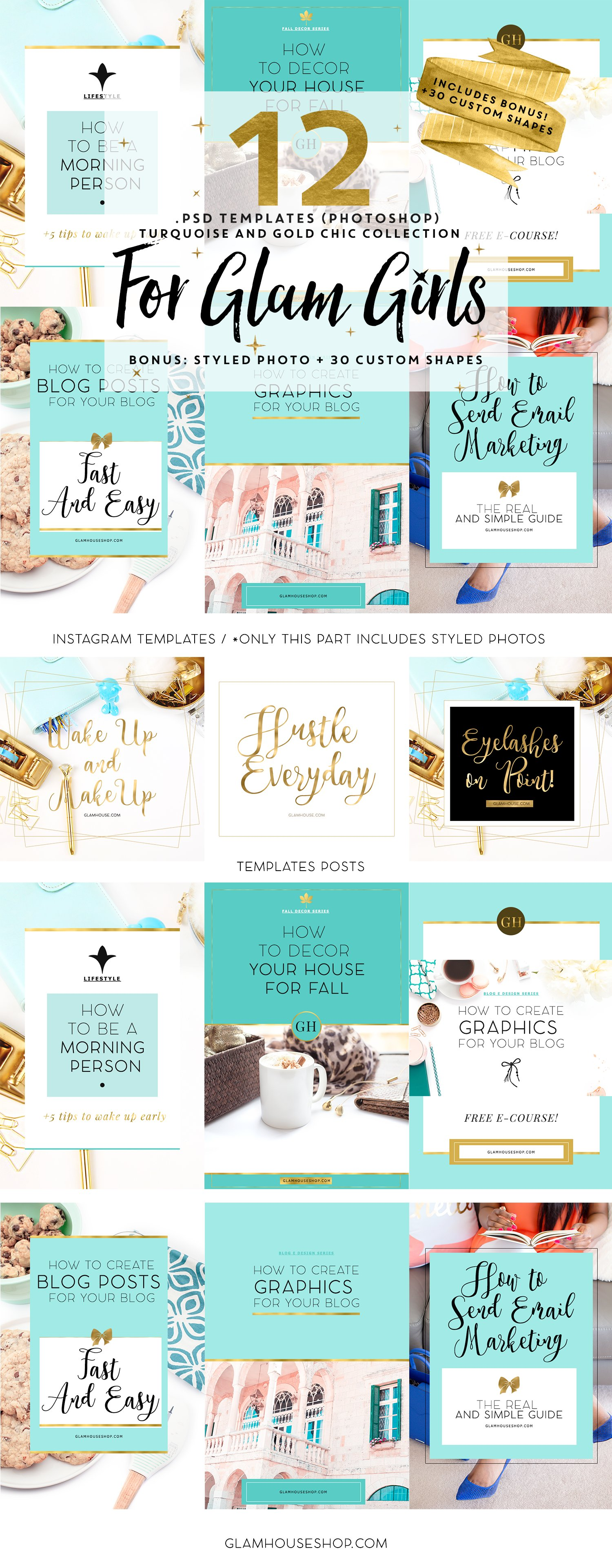 sale 10 12 templates for glam girls social media templates