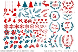 125 Christmas clipart set, mega pack