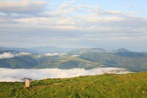 Summer misty Carpathian mountains