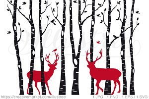 Christmas deer in birch tree forest