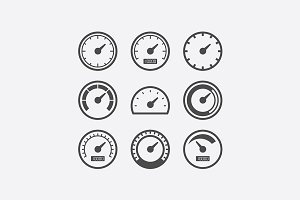 Speedometer vector icon set