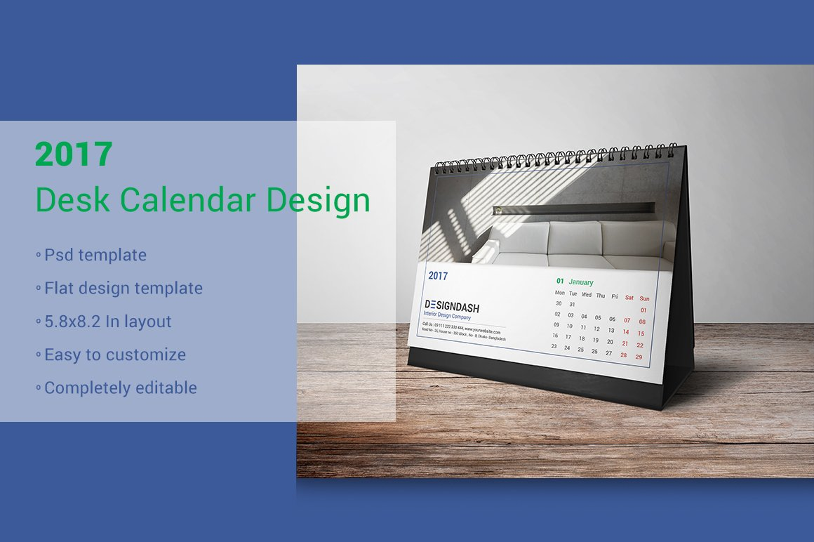 Table Calendar Design : Desk calendar design stationery templates