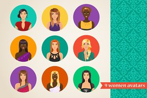 Vector set of 9 women avatars
