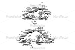 Set form of clouds. Engraving
