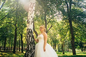 bride on the background of the forest