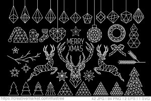 84 Geometric Christmas clip art