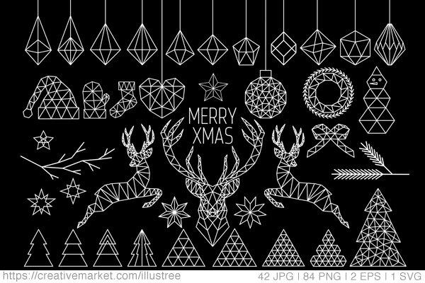 84 Geometric Christmas clip art