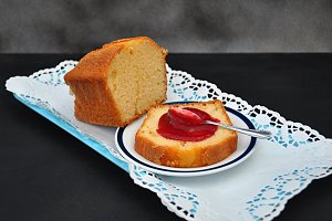 homemade cake with raspberry jam