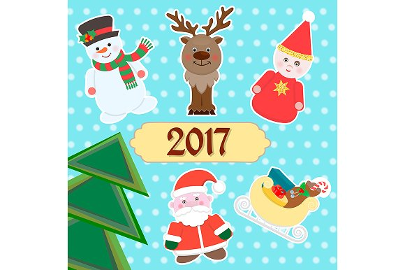 winter 2017 new year poster illustrations