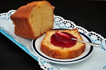 homemade cake with raspberry jam
