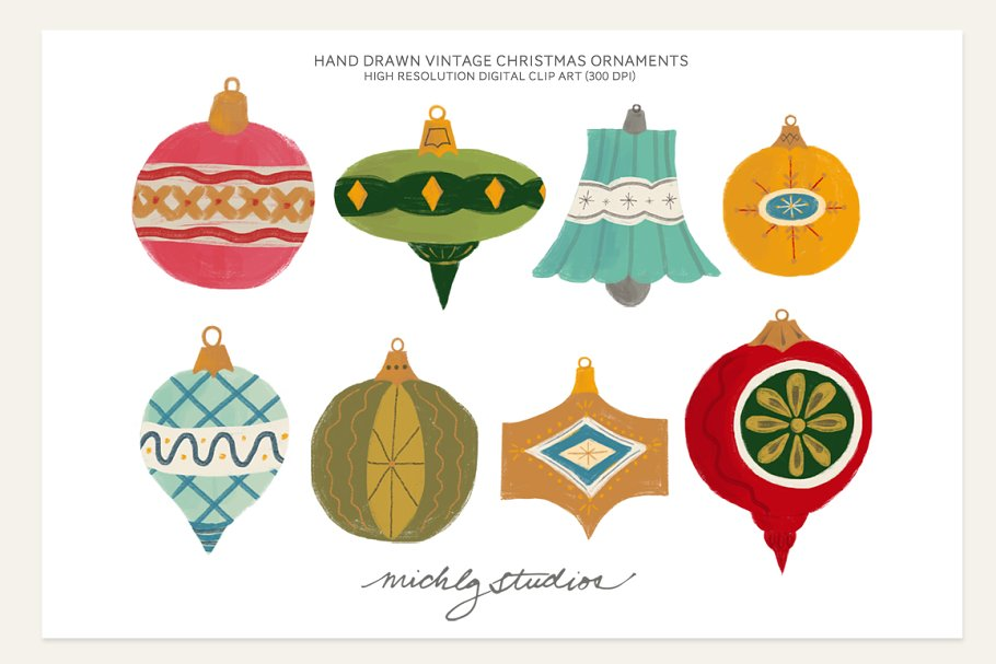 Christmas Ornament Clip Art.Vintage Christmas Ornament Clipart Illustrations