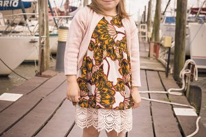 Little girl and boats