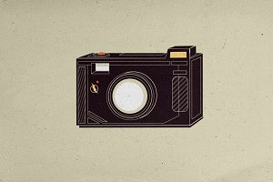 Camera with Flash Illustration