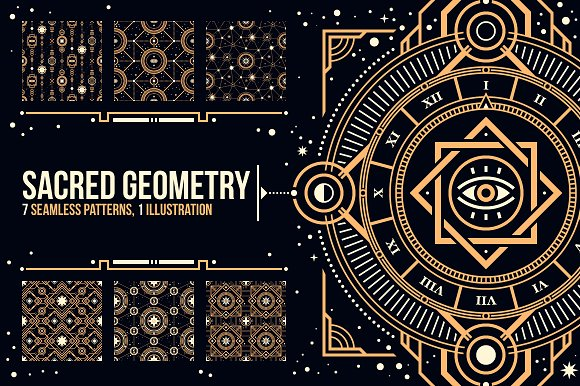 Sacred Geometry Graphic Patterns Creative Market Custom Sacred Geometry Patterns