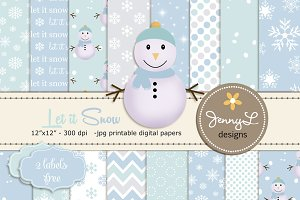 Snowman Digital Papers & Clipart