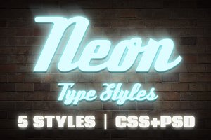 Neon CSS Type Styles (+PSD)