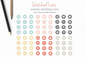 Sketched website and blog Icons
