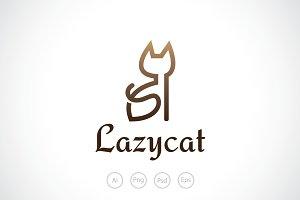 Beautiful Lazy Cat Logo Template