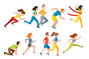 Vector people jogging