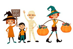 Kids in Halloween festive design