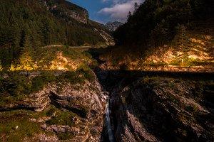 Waterfalls at night below Mangart