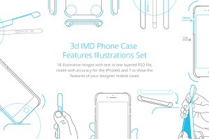 3d IMD Phone Case Illustrations Set