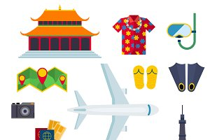 Travel cruise icons vector