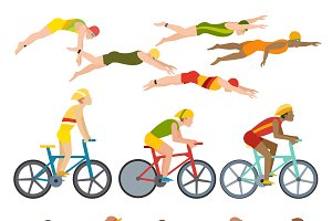 Triathlon athletes vector