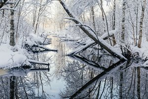 Winter-time river panorama