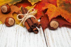 Autumn leaves with cinnamon