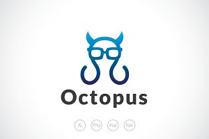 Devil Geek Octopus Logo Template
