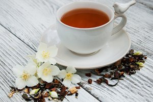 Tea with jasmine flowers