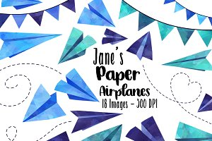 Watercolor Paper Airplanes Clipart