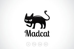 Black Mad Cat Logo Template