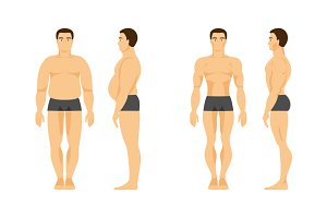 Male before and after fitness