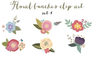 Pretty floral bunches clip art set 1